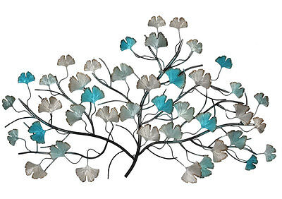 Iron Tree Metal Wall Art Turquoise Silver 85cm Garden Decor Sculpture Hanging