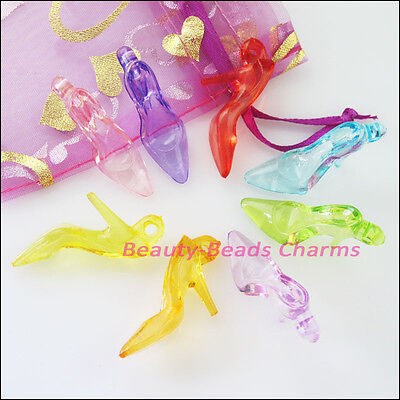 10Pcs Mixed Plastic Acrylic Clear High-heeled Shoes Charms Pendants 11.5x37mm