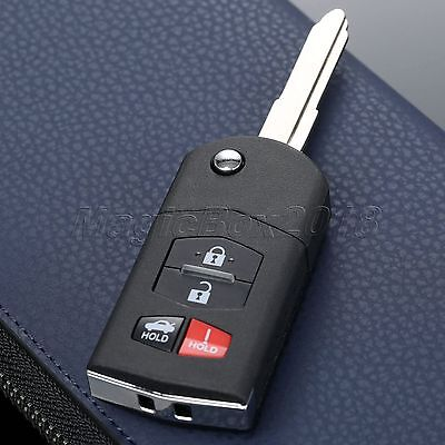 Replacement Flip 4 Buttons Remote Key Case Shell Fob For Mazda 3 5 6 RX-8 CX-7