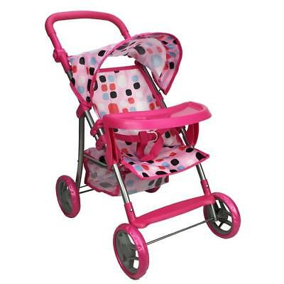 Girls Pretend Play Doll Pram with Tray - Pink