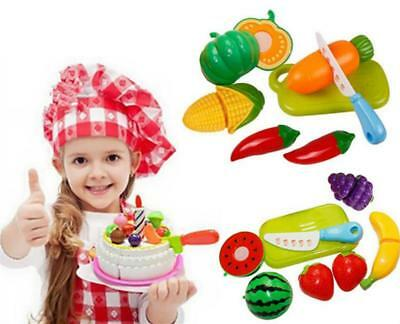 Play Food Kid Children Plastic Vegetable Fruit Toy Role Kitchen Cutting Set Gift
