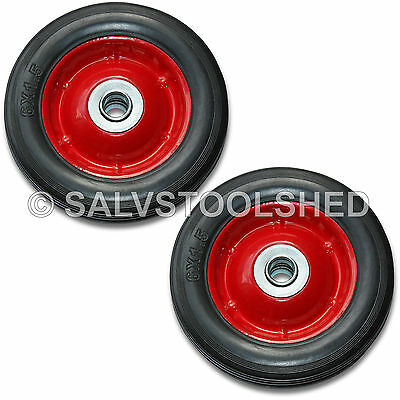 """2× 6"""" Solid Rubber Wheel Jockey Trolley Wheels with 16mm Bore Puncture Proof"""