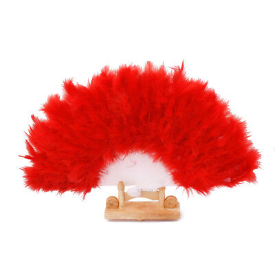 Folding Red Feather Hand Fan Ladies Burlesque Fancy Dress Costume Party New