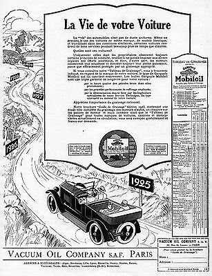 MOBILOIL Vacuum Oil Company Car Gargoyle French Vintage Print Ad 1925 Coulon (b)