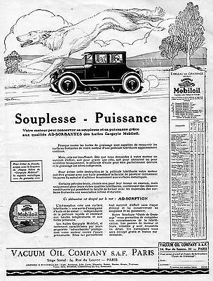 MOBILOIL Vacuum Oil Company Car Gargoyle French Vintage Print Ad 1926 Coulon (a)