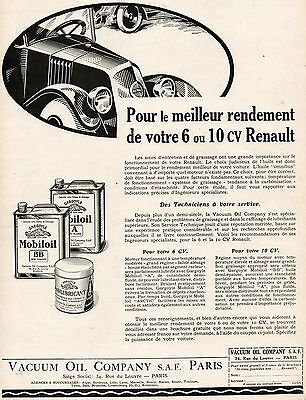 MOBILOIL Vacuum Oil Company Car Gargoyle French Vintage Print Ad 1926 Renault