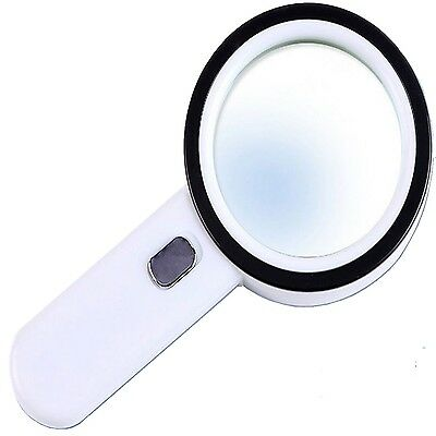 12 LED Light 20X Handheld Illuminated Magnifier Reading Magnifying Glass Lens...