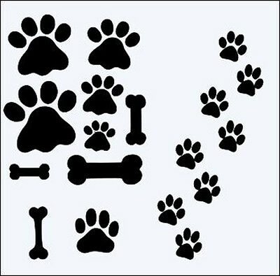 BONES & PAWS 190m DURABLE MYLAR RE USEABLE STENCIL - 6 X 6""
