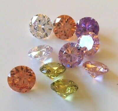 CUBIC ZIRCON MIXED PASTEL COLORS Loose Lot 2-10mm  Round CZ IF Wholesale USA-AAA