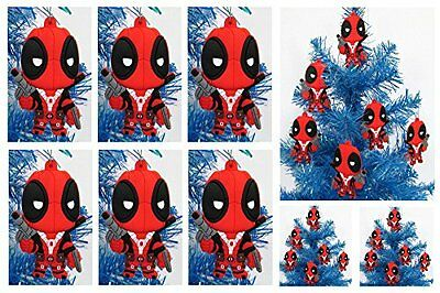 Comic Super Hero DEADPOOL Holiday Christmas Ornament Set - Unique Plastic Design