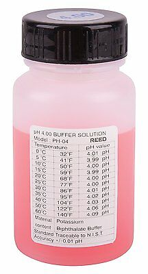 REED PH-04 pH Buffer Solution Has a 4.0 pH and can be used with any pH Meter.