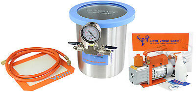Glass Vac 1 Gallon Stainless Steel Vacuum Chamber w/ 3CFM Two Stage Pump