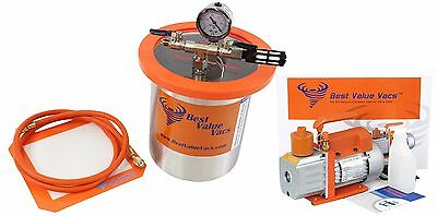 Best Value Vacs 1 Gallon Tall Stainless Steel Vacuum Chamber and 3CFM Vacuum Pum