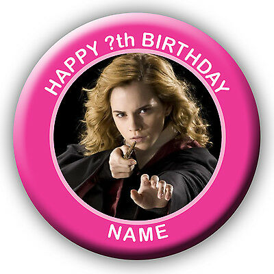 PERSONALISED HARRY POTTER HARMIONIE BIRTHDAY BADGES/MAGNET - 58 or 77MM