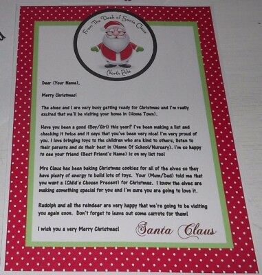 personalised desktop letter envelope from santa size a5 for