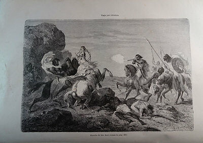 ANTIQUE ENGRAVED ABYSSINIA 1876 DEATH OF Mr BELL 19th CENTURY PRINT 0032CC