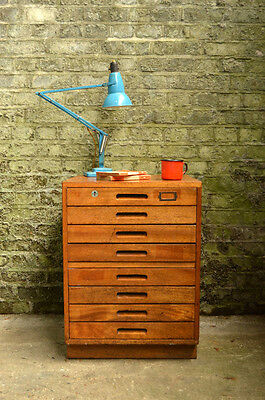 Vintage Mid Century Industrial School Chest of 8 Drawers Sideboard Cabinet