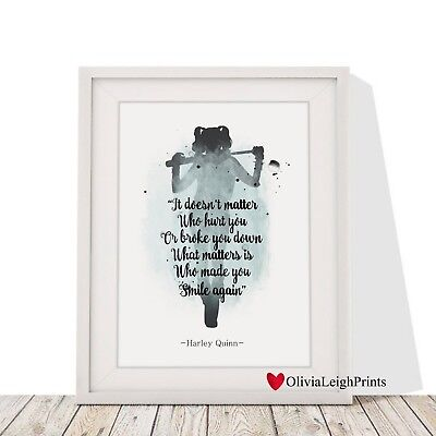 Harley Quinn Suicide Squad word Art Quote watercolour Art Print-Wall Art-Gift