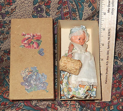 """Antique Circa 1920 4""""  Painted All Bisque Travel Doll in Original Box : England"""