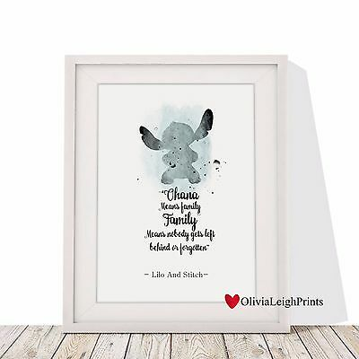 Disney Lilo And Stitch Word Art Quote Watercolour Art Print-Wall Art-Gift