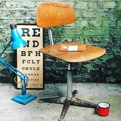 1 x Vintage Ply + Metal Mid Century Swivel Chair Desk Chair Dining