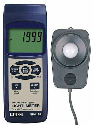 REED SD-1128 SD Series Light Meter, Datalogger, 100,000 Lux/10,000 Foot Candles