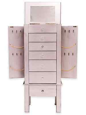 Silver Jewelry Armoire Display Storage Chest, Ring Necklace Organizer Box, Wood