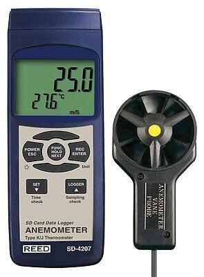REED SD-4207 SD Series Vane Thermo-Anemometer, Datalogger, with Temperature