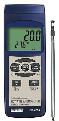 REED SD-4214 SD Series Hot Wire Thermo-Anemometer, Datalogger, with Temperature
