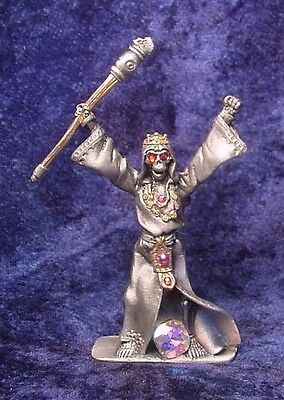 Pewter REAPER KING holding SCEPTER - Colorful CRYSTALS