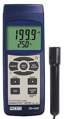 REED SD-4307 Conductivity/TDS/Salinity Meter Datalogger with Backlit LCD Display