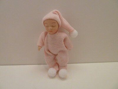 Dolls House Miniature 1:12 Scale Nursery Pink Dressed Baby (PD117)