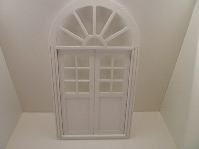 Dolls House Miniature 1:12 Scale Wood White Painted Double Door (C74WH)