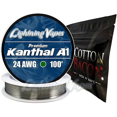 Kanthal A1 24 Gauge AWG 100' + Cotton Bacon V2 - 10 Strips - Bundle