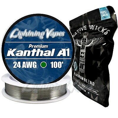 Kanthal A1 24 Gauge AWG 100' + Native Wicks Platinum - Bag of 3' - Bundle