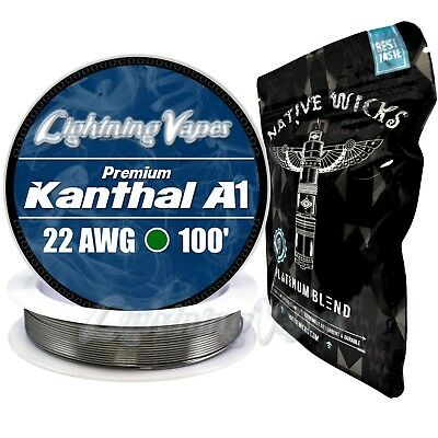 Kanthal A1 22 Gauge AWG 100' + Native Wicks Platinum - Bag of 3' - Bundle