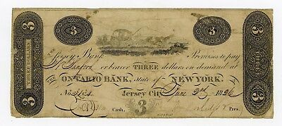 1826 $3 The Jersey Bank - Jersey City, NEW JERSEY Note (Payable in NY)