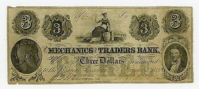1852 $3 The Mechanics and Traders Bank - Georgetown, D.C. Note