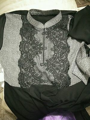 Dubai Abaya Jilbab, Black and Grey size 58 Brand New! With Sheila (Scarf)