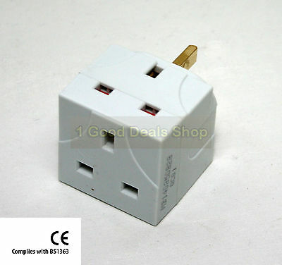 New 2 Way Fused Plug Multi Socket Extension Wall Adaptor Adapter 2 Gang White