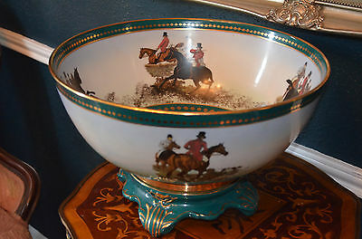 "Huge 15 3/4"" Diameter Two Piece Center Bowl English Hunting Scene Marked Limoges"