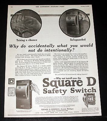 1919 Old Magazine Print Ad, Square D Safety Switch Covers, Never Take A Chance!