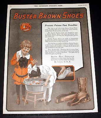 1919 Old Magazine Print Ad, Buster Brown Shoes Prevent Trouble, Halloween Art!