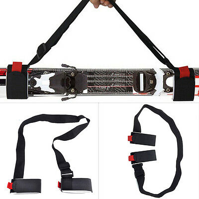 Portable Dual Skis Fixation Straps With Magic Sticker Shoulder Carrier Design