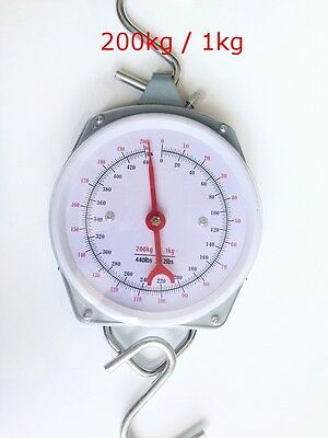 Hanging Scales Mechanical With Hook - 200Kg Capacity - Fishing Butchers
