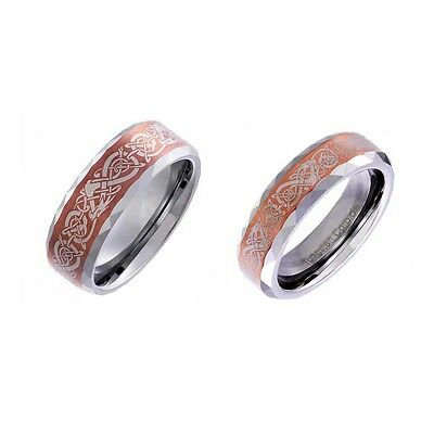 His & Hers Wedding Ring Sets Tungsten Coffee Color Satin Celtic Dragon Scroll