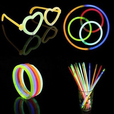50× Glow Sticks Bracelets Necklaces Fluorescent Neon Party Wedding Decal Ornate