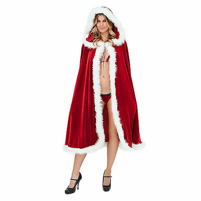 Womens Christmas Santa Claus Cloak Xmas Costume Cappa Cloak Cape Fancy Dress