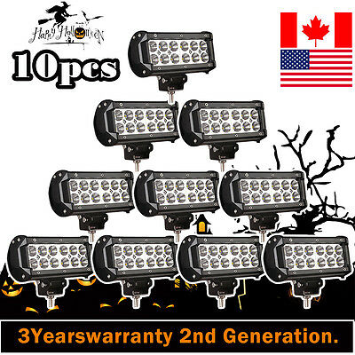 10Pcs 7Inch 36W Cree Led Work Light Bar Offroad Lamp 4Wd Atv Driving Suv Flood