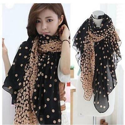 Lady Soft Long Neck Large Scarf Wrap Shawl Voile Stole Dot Scarves Gift